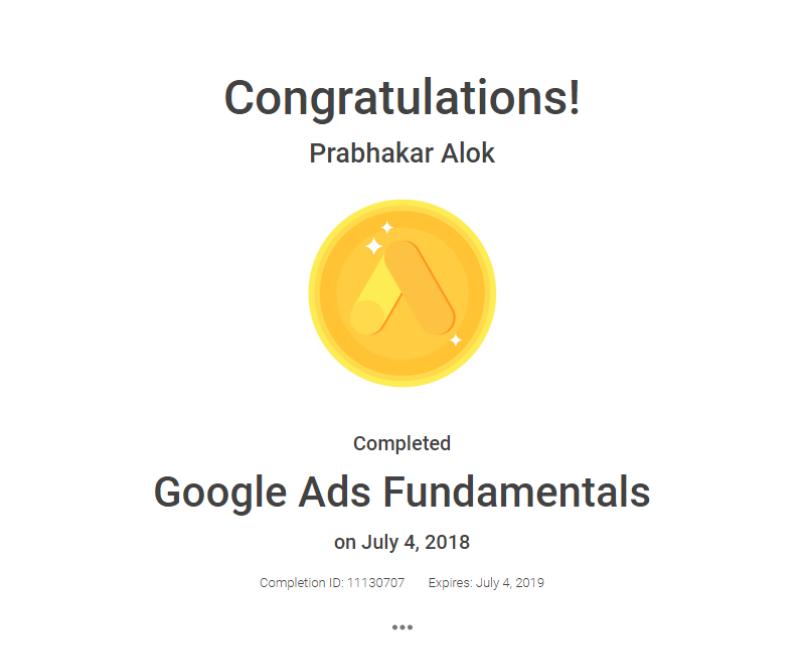 Google Ads Fundamental Certificate
