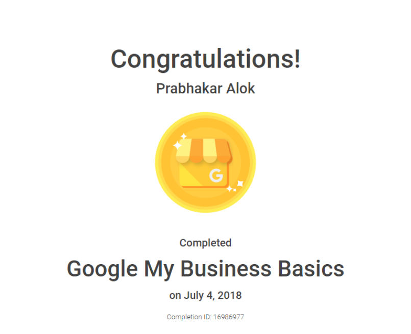 Google My Business Certificate