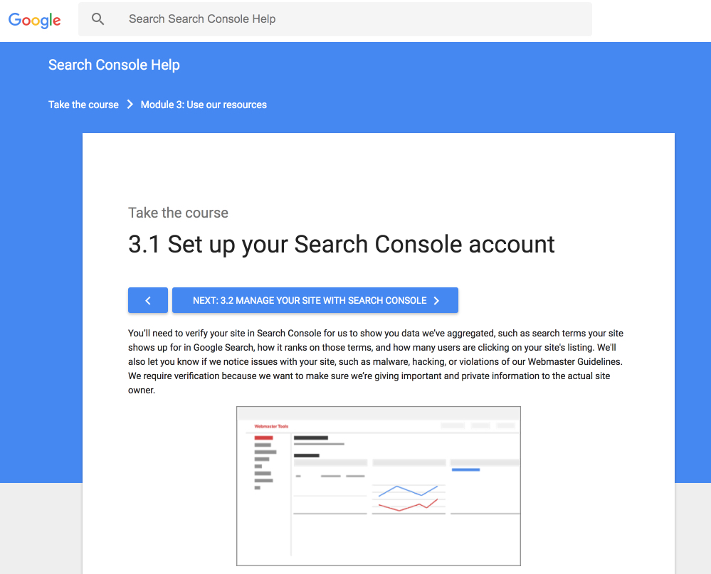 search console setup