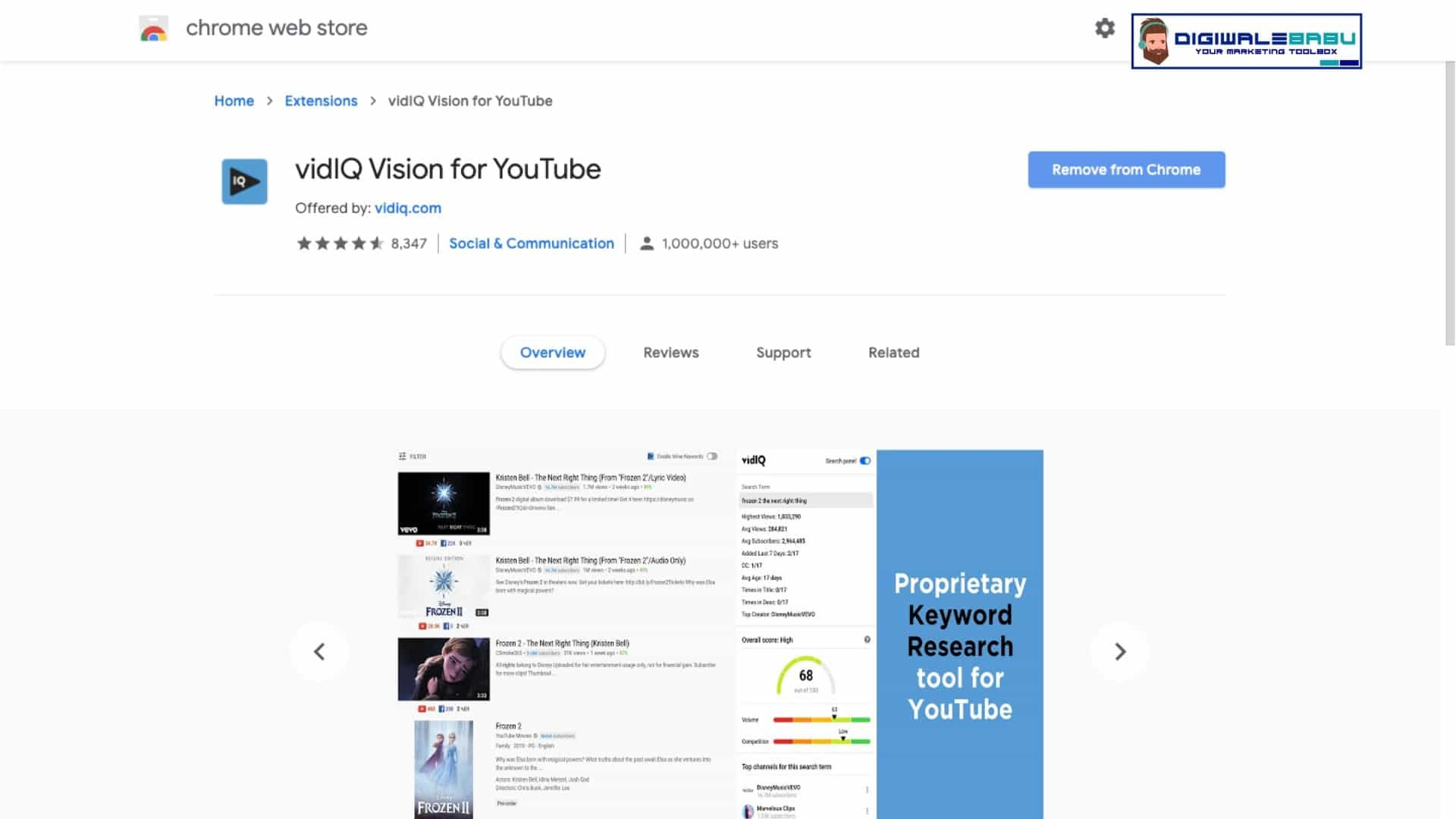 VidIQ Vision for Youtube Chrome Extension