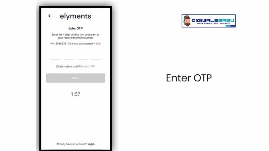 Enter otp in Elyments App