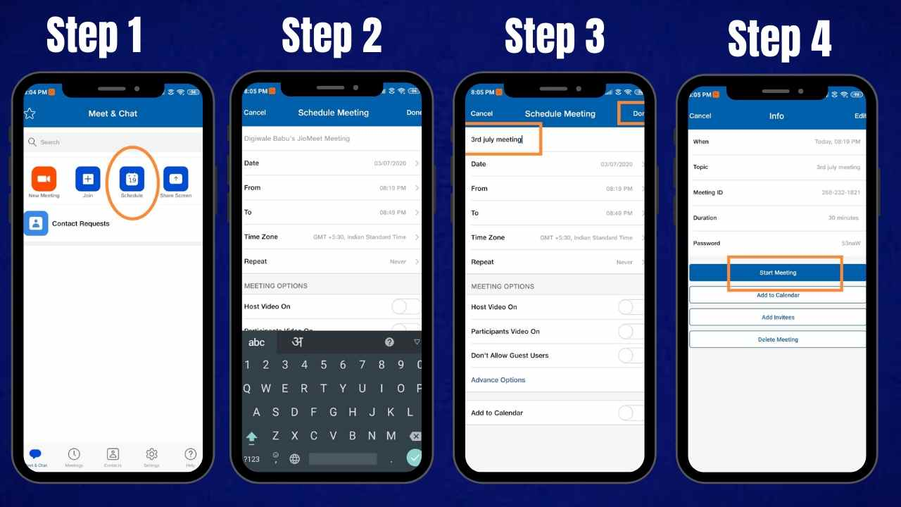 How to schedule a meeting on JioMeet app