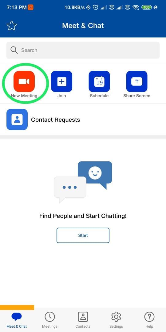 How to start a new meeting on JIOMeet through mobile app