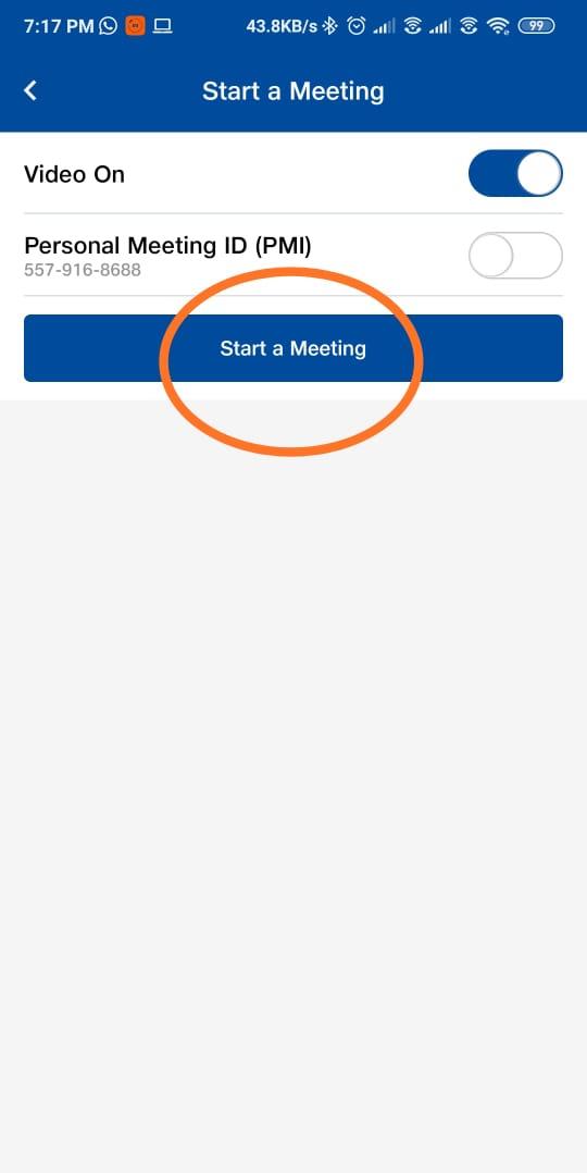 start a meeting on jiomeet
